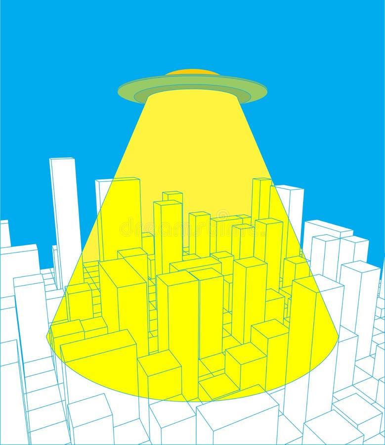 Ciudad y UFO Invasor abstracto del horizonte y del espacio La industrial stock de ilustración