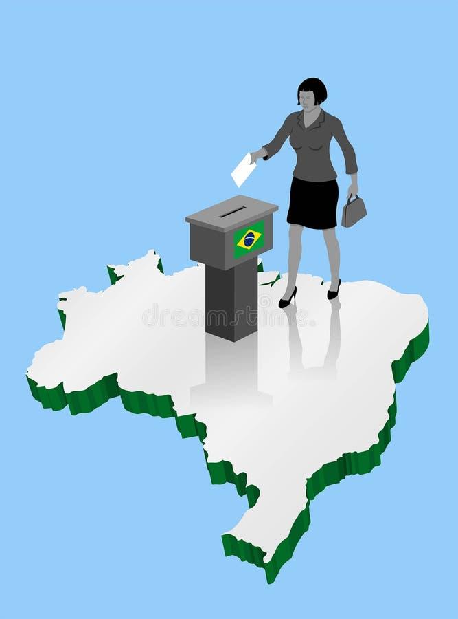 Ciudadano brasileño de la mujer que vota por la elección del Brasil sobre un 3D mA ilustración del vector