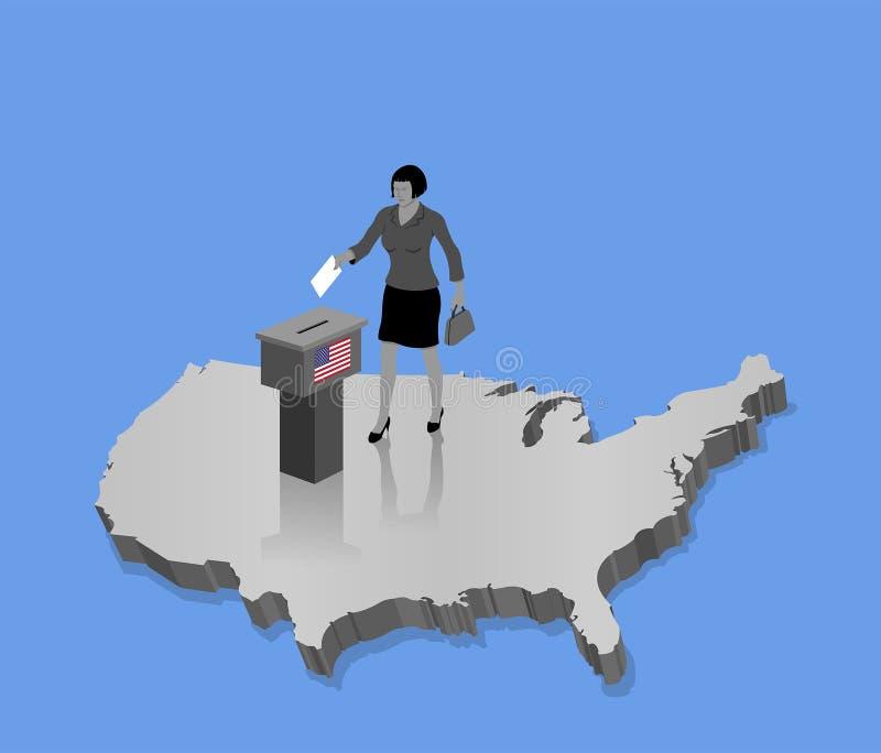 Ciudadano de los E.E.U.U. que vota por la elección americana sobre un mapa 3D de los E.E.U.U. ilustración del vector
