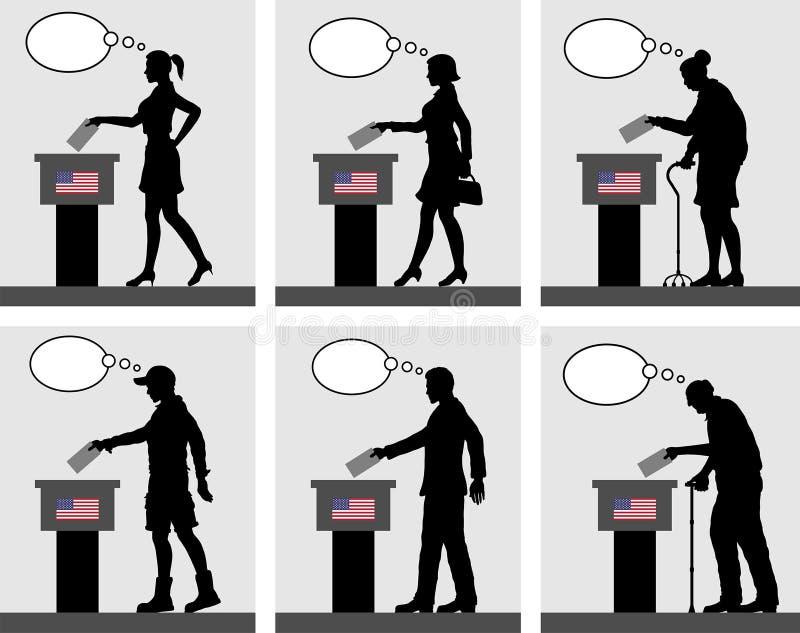 Ciudadanos americanos que votan por la elección en los E.E.U.U. con la burbuja del pensamiento stock de ilustración