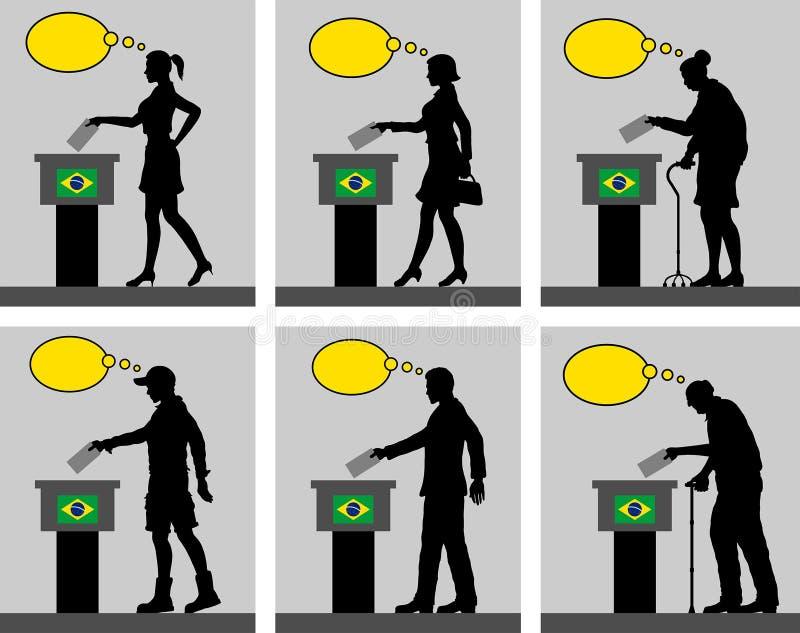 Ciudadanos brasileños que votan por la elección en el Brasil con BU del pensamiento stock de ilustración