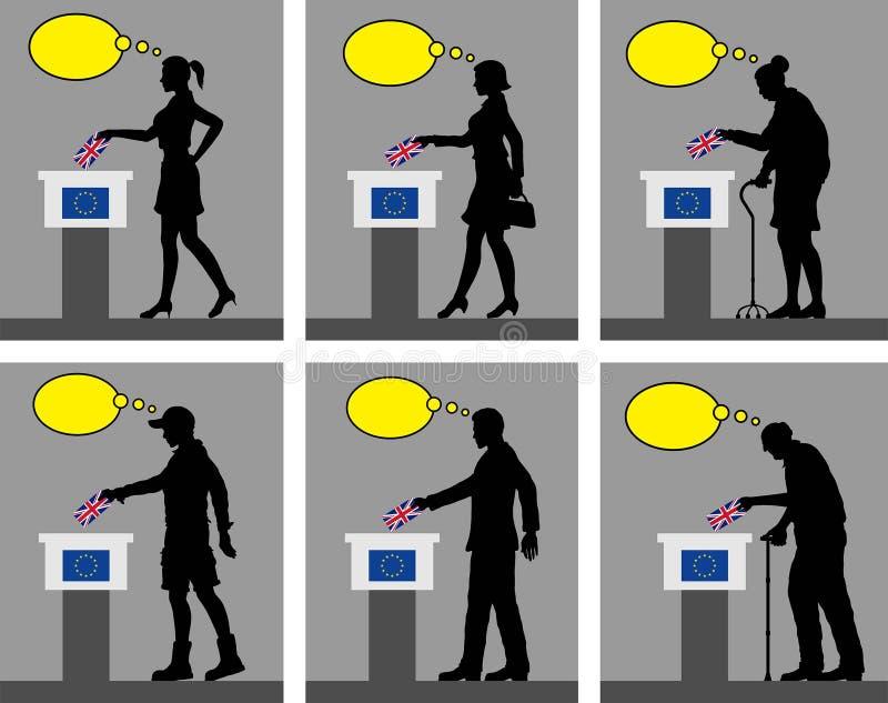 Ciudadanos británicos que votan por Brexit en Reino Unido con sin embargo libre illustration