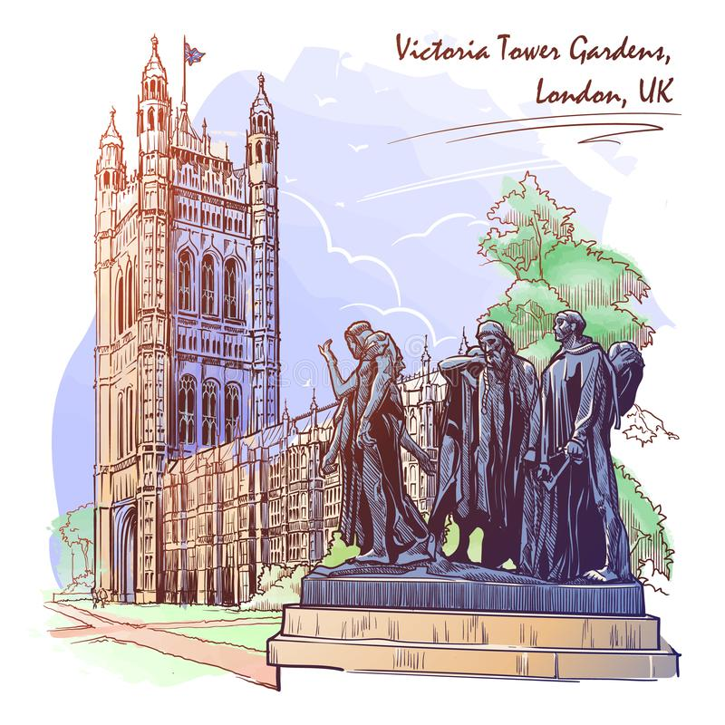 Ciudadanos de la estatua de Calais con Victoria Tower y las casas del parlamento detr?s ilustración del vector