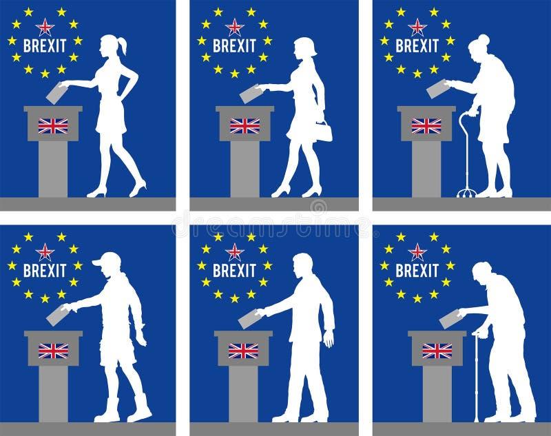Ciudadanos de Reino Unido que votan por Brexit en Gran Bretaña ilustración del vector