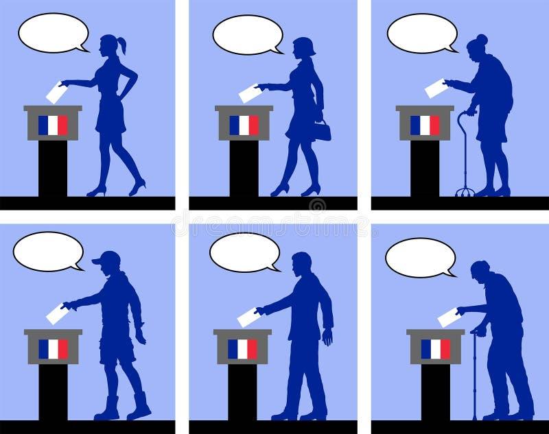 Ciudadanos franceses que votan por la elección en Francia con la burbuja del discurso ilustración del vector