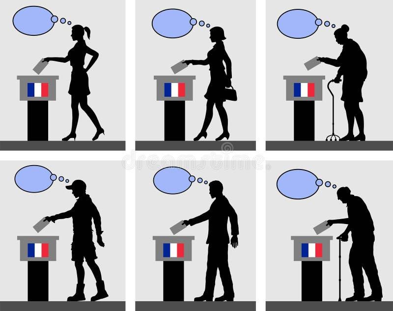 Ciudadanos franceses que votan por la elección en Francia con la burbuja del pensamiento ilustración del vector