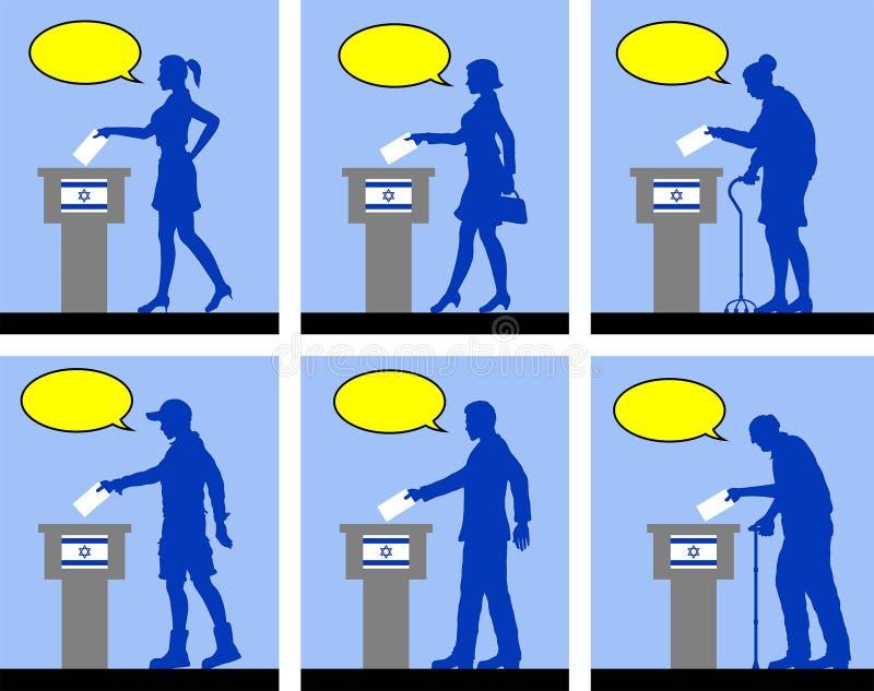 Ciudadanos israelíes que votan por la elección en Israel con la burbuja del discurso stock de ilustración