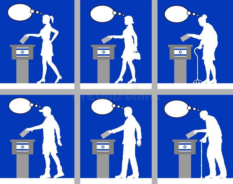 Ciudadanos israelíes que votan por la elección en Israel con la burbuja del pensamiento stock de ilustración