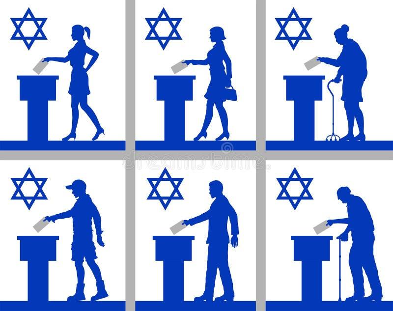 Ciudadanos israelíes que votan por la elección en Israel libre illustration