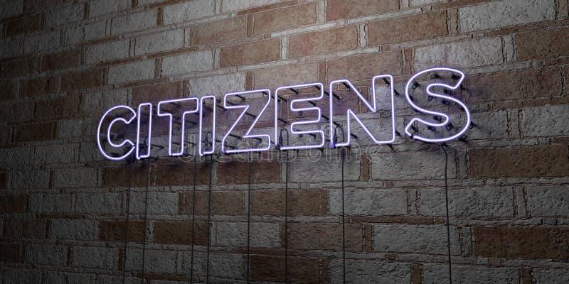 CIUDADANOS - Señal de neón que brilla intensamente en la pared de la cantería - 3D rindió el ejemplo común libre de los derechos stock de ilustración