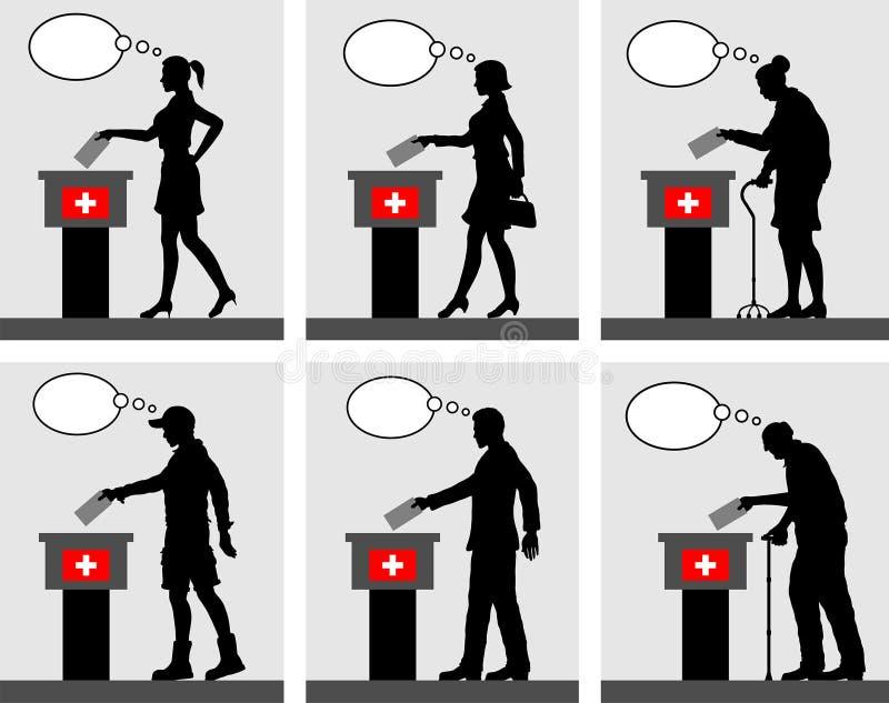 Ciudadanos suizos que votan por la elección en Suiza con el pensamiento b stock de ilustración