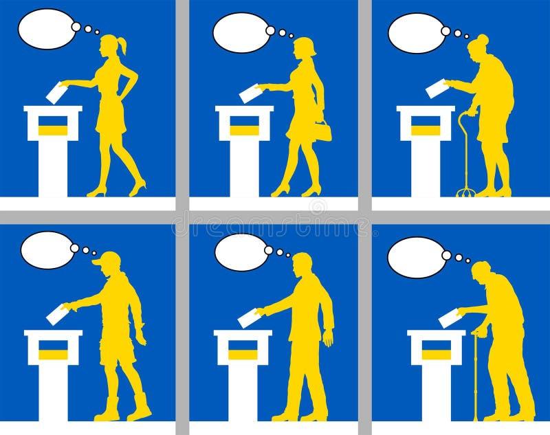 Ciudadanos ucranianos que votan por la elección en Ucrania con la burbuja del pensamiento stock de ilustración
