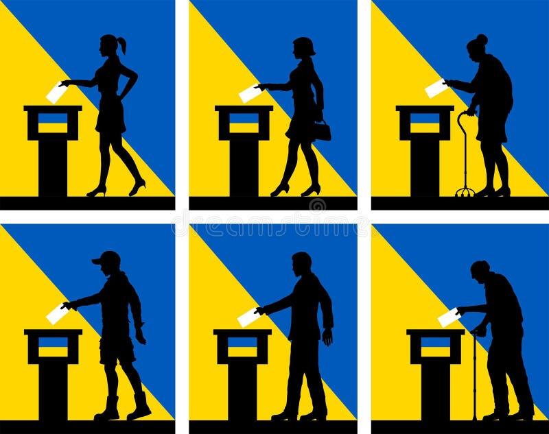 Ciudadanos ucranianos que votan por la elección en Ucrania stock de ilustración