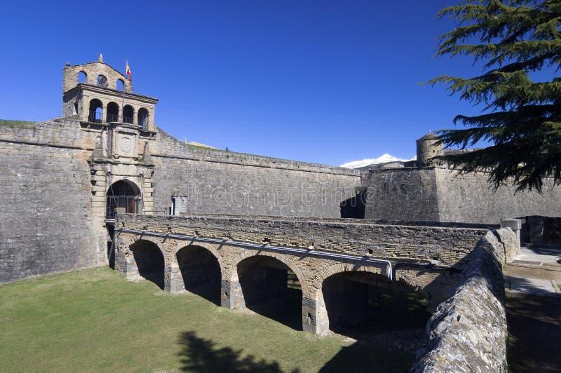 Ciudadela. Entrance to the castle of St. Peter, known as La Ciudadela, Jaca, Huesca, Aragon, Spain royalty free stock image