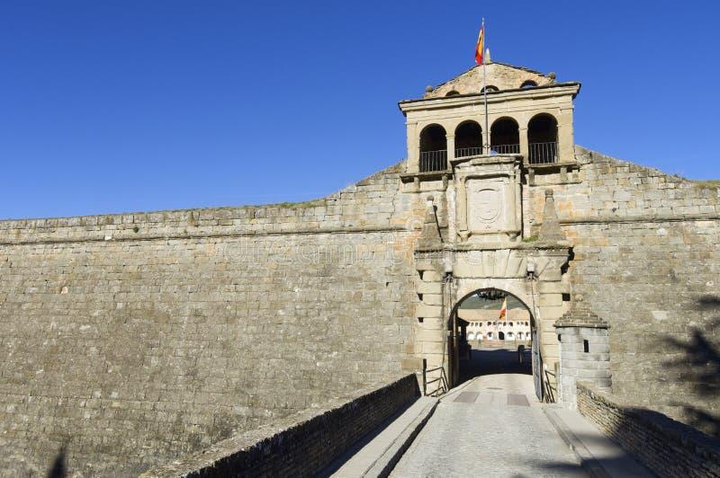 Ciudadela. Entrance to the castle of St. Peter, known as La Ciudadela, Jaca, Huesca, Aragon, Spain stock photos