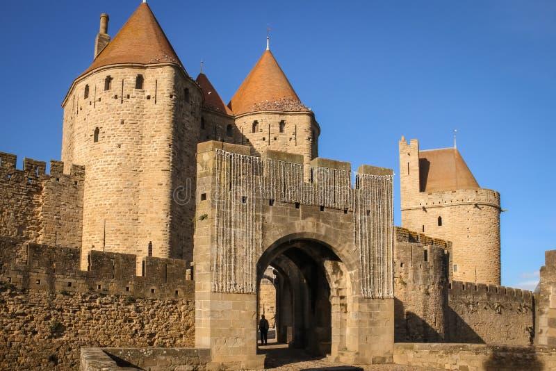 Ciudadela emparedada vieja Puerta de Narbona Carcasona francia foto de archivo libre de regalías