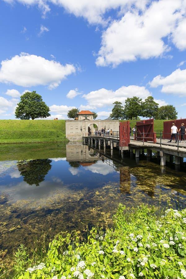 Ciudadela vieja, Kastellet, opinión sobre el puente y rey Gate, Copenhague, Dinamarca fotos de archivo libres de regalías