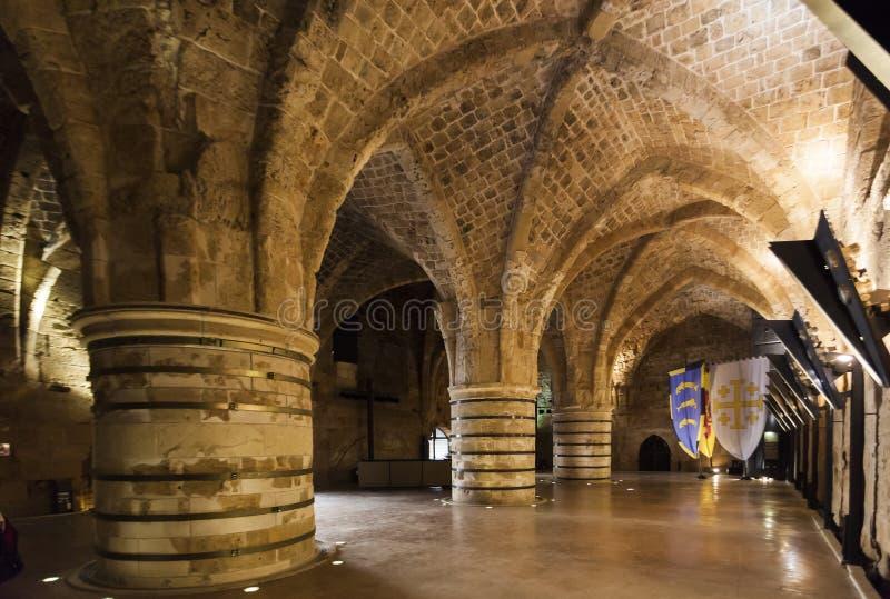 Ciudadela y prisión subterráneos Akko Israel imagen de archivo libre de regalías