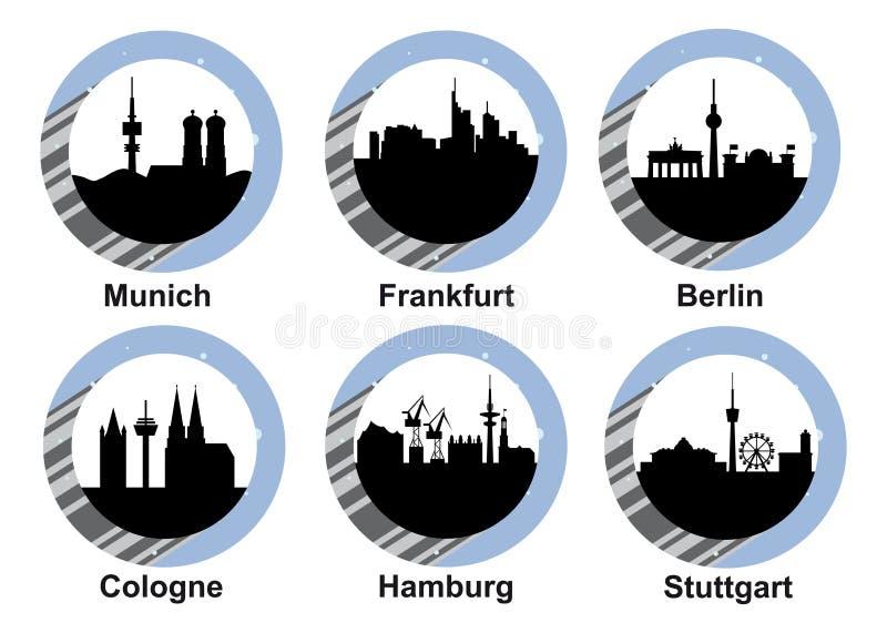 Ciudades alemanas determinadas del icono ilustración del vector