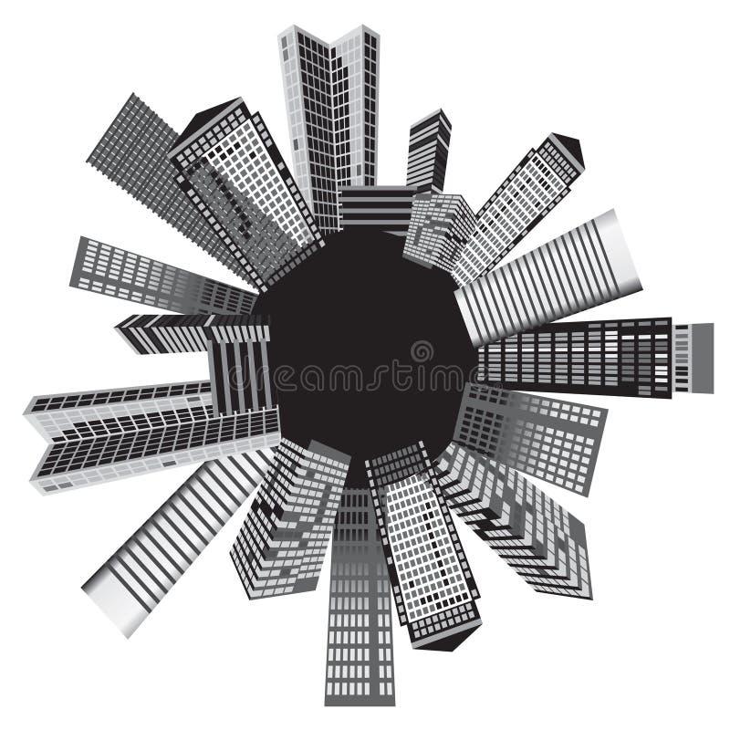 Ciudades blancos y negros ilustración del vector