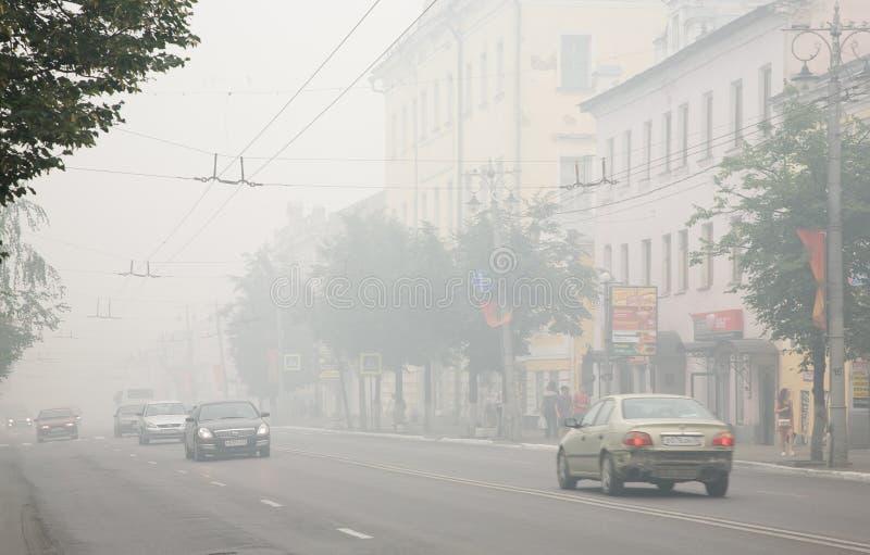 Ciudades de Rusia central en humo foto de archivo
