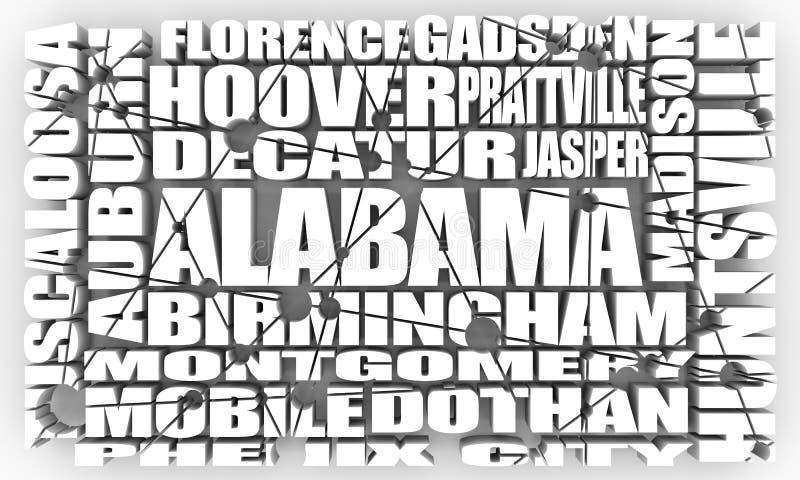Ciudades del estado de Alabama stock de ilustración