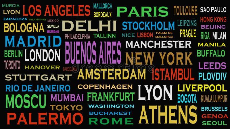 Ciudades del mundo, concepto de la nube de la palabra de los destinos del viaje ilustración del vector