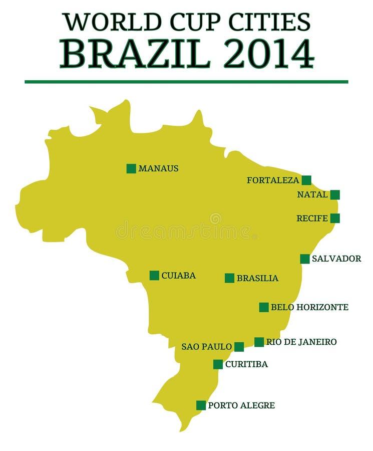 Ciudades el Brasil 2014 del mundial ilustración del vector