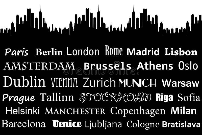 Ciudades europeas ilustración del vector
