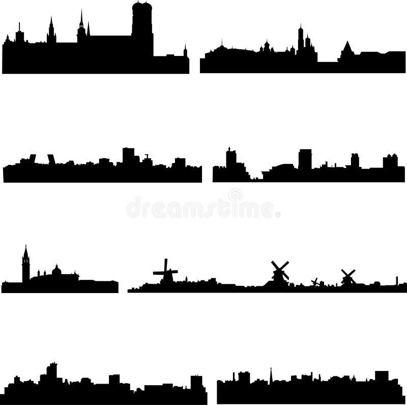 Ciudades europeas en ocho países ilustración del vector