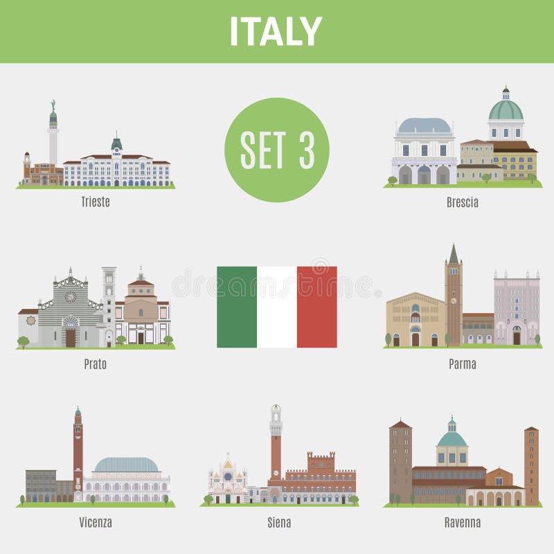 Ciudades famosas de Italia de los lugares Sistema 3 stock de ilustración