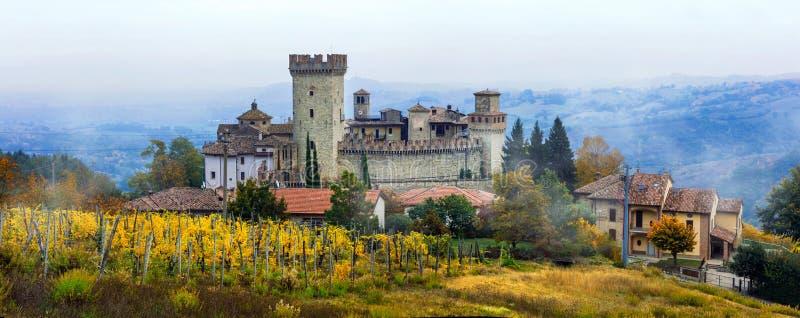Ciudades y castillos medievales de Italia - Vigoleno con los viñedos adentro fotografía de archivo