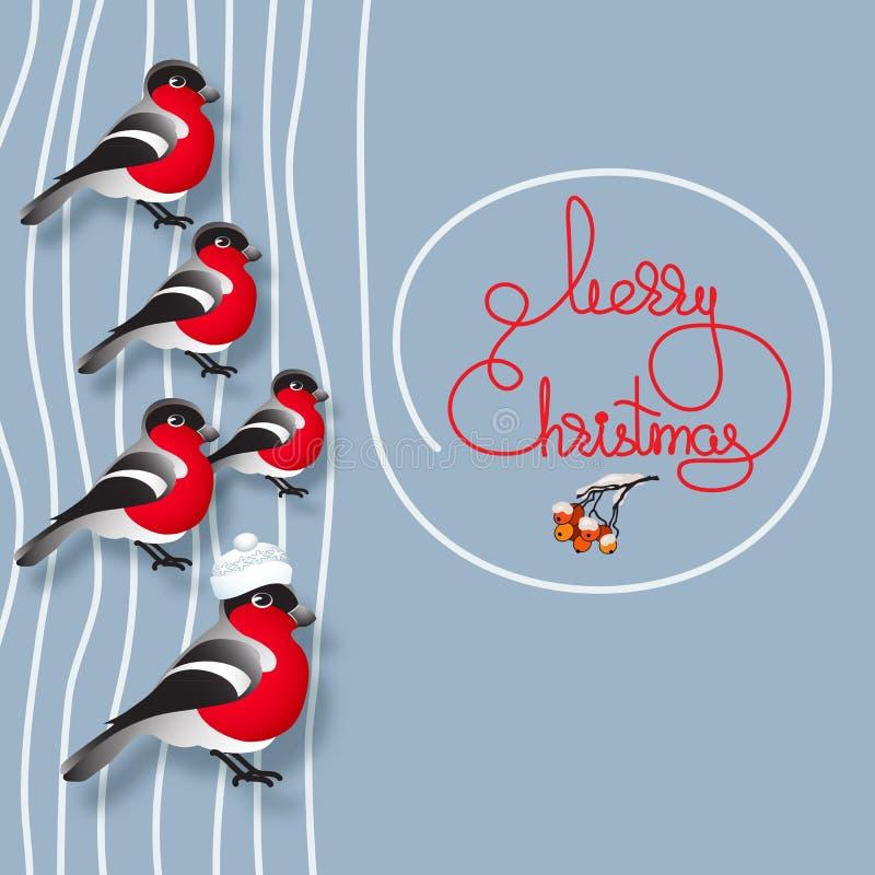 Ciuffolotti, sorba e Buon Natale scritto a mano di parole illustrazione vettoriale