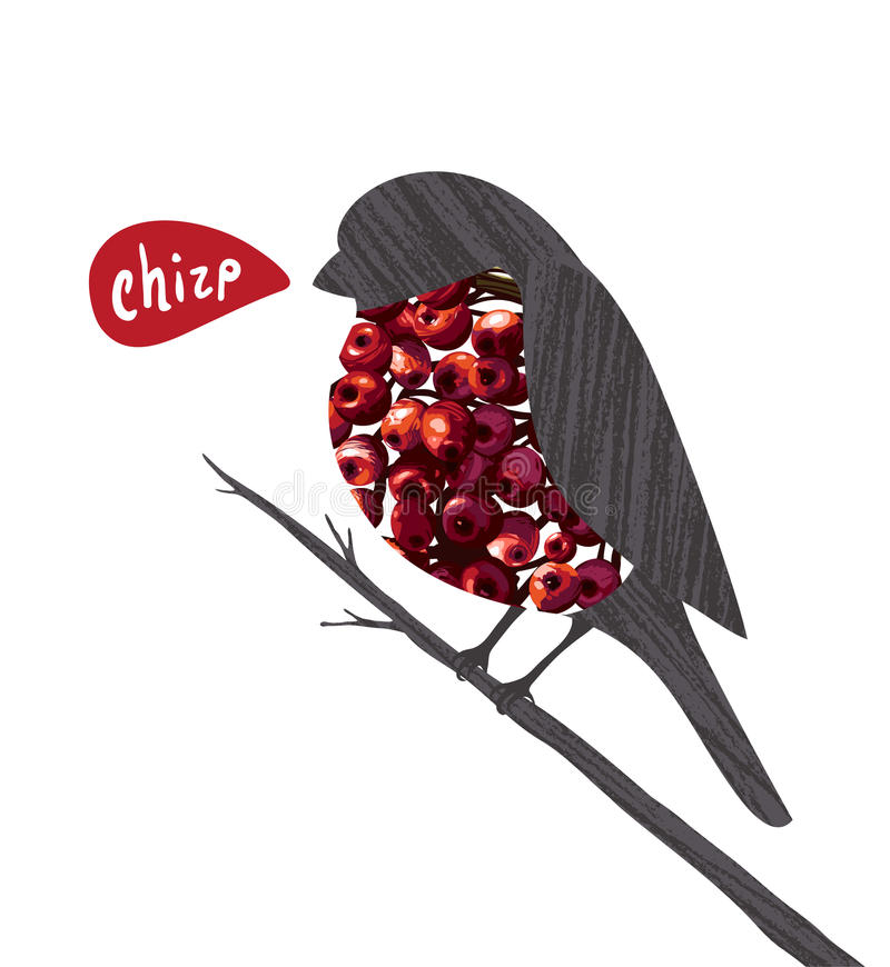 Ciuffolotto che si siede sul ramoscello di Ashberry che dice stridio royalty illustrazione gratis