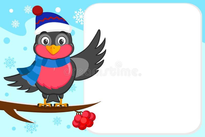 Ciuffolotto dell'uccello in un cappello ed in una sciarpa che si siedono su un ramo e che ondeggiano la sua ala Posto per testo royalty illustrazione gratis