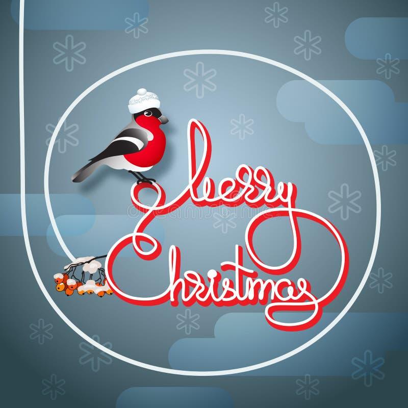 Ciuffolotto in un cappello, in una sorba ed in un Buon Natale scritto a mano di parole illustrazione vettoriale