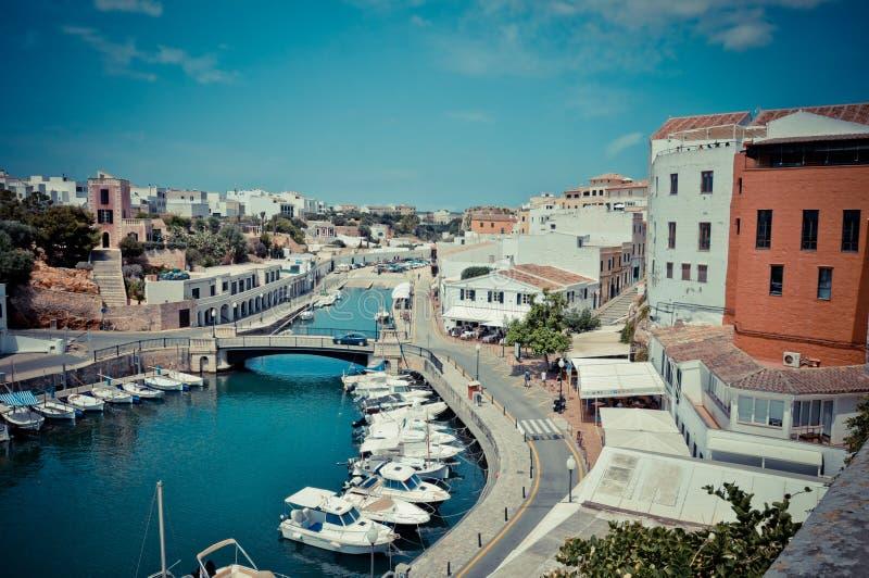 Ciutadella,梅诺卡岛港  库存照片