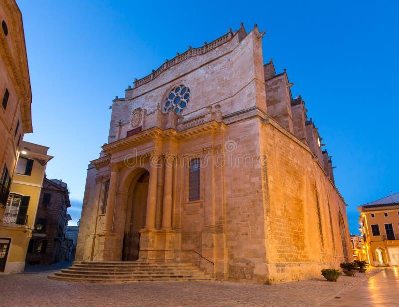 Ciutadella Menorca大教堂在拜雷阿尔斯的Ciudadela 免版税库存照片
