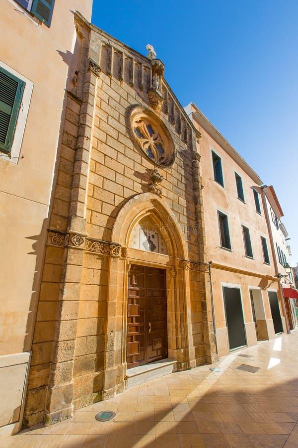 Ciutadella Menorca carrer街市毛的教会 免版税图库摄影