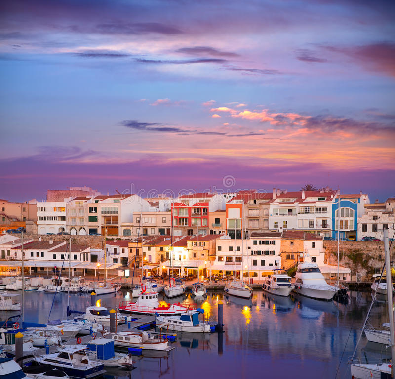 Free Ciutadella Menorca Marina Port Sunset With Boats Royalty Free Stock Images - 35150819