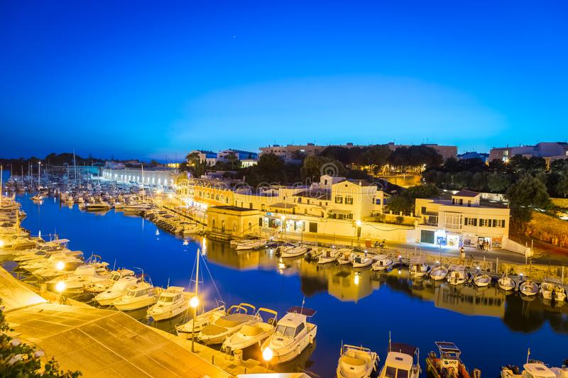 Ciutadella Harbour in Menorca, Spain stock images