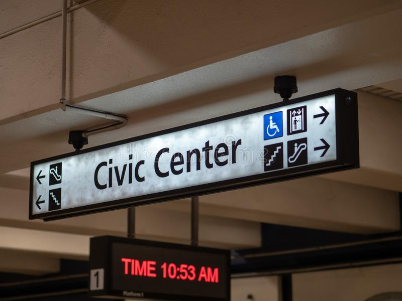 Civic Center BART public transportation sign in subway station underground. SAN FRANCISCO, CA September 9, 2018: Civic Center BART public transportation sign in royalty free stock photography