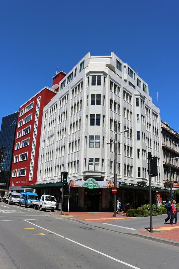 Civic Chambers building, Wellington, New Zealand. Civic Chambers and Anvil house buildings on the corner of Cuba street and Wakefield street in the city center royalty free stock image