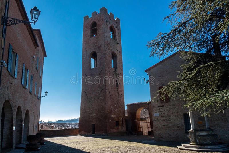 Civic tower in the Malatesta fortress in longiano stock photos