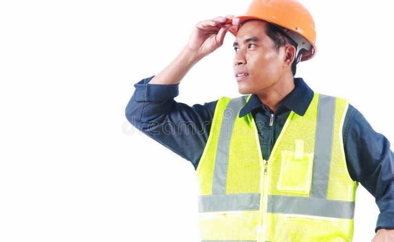 Civiel-ingenieur met veiligheidsvest royalty-vrije stock afbeelding