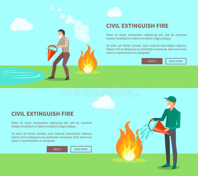 Civil éteignez-vous l'ensemble du feu d'affiches avec le texte illustration stock