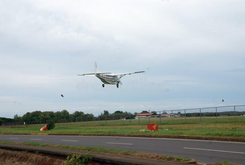 Civil Aeronautics Authority of Panama landing plane. A Civil Aeronautics Authority of Panama landing plane at Enrique Malek airport at David -Panama royalty free stock photography