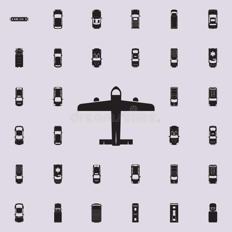 Civil aircraft icon. Transport view from above icons universal set for web and mobile. On colored background royalty free illustration
