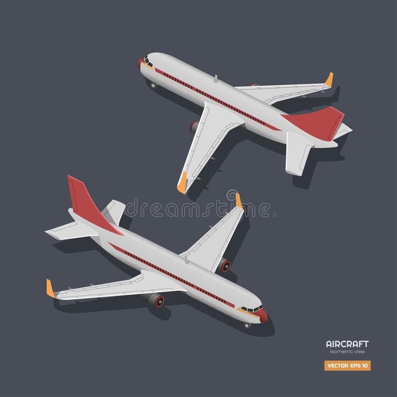 Civil aircraft in isometric style. Industrial drawing of 3d airplane. Front and back view. Plane icon vector illustration
