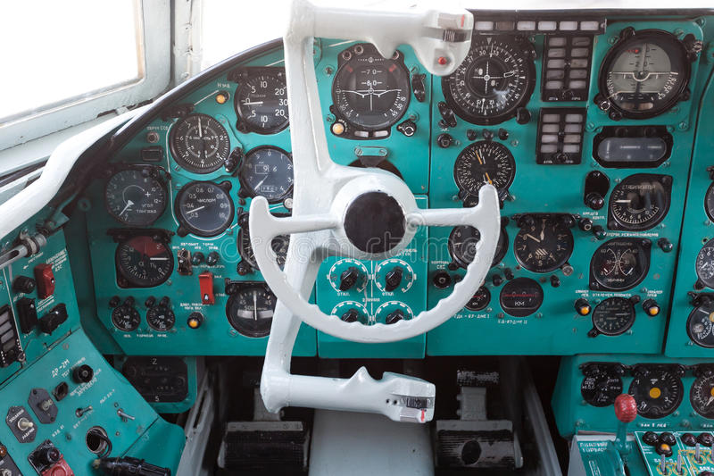 Download Civil airplane cockpit stock image. Image of travel, retro - 28875383